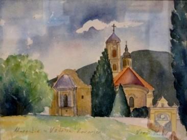 Manastir Ravanica u Vrdniku (akvarel 20x27cm)