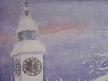 Sat na tvrđavi – zima (akvarel  26x19cm)