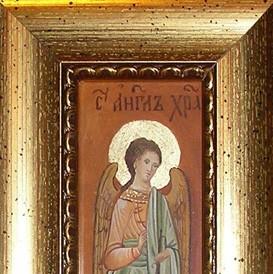 Anđeo čuvar (minijatura, akvarel i pozlata na gipsanoj podlozi, po porudžbini)