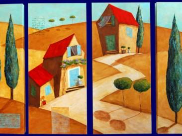Put u Toskanu iz četiri dela (ulje na platnu, 120×70 cm)