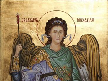 Sv.Arhangel Mihailo (akvarel i akril sa pozlatom na gipsanoj i MDF podlozi,29×22,5cm) 2015.god.