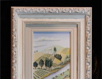Ulje na kaširanom platnu (25×9.5cm),beli ram