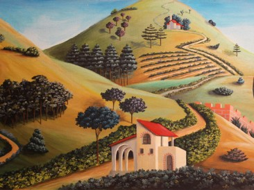 Valoviti predeli – Wavy landscape (akrilik na kaširanom platnu, 23x45cm) 2013.god.