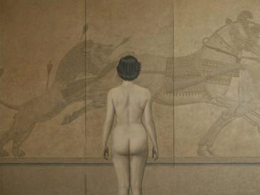 Asurbanipalov Lov (platno,ulje,akril,pesak,lepak 210x170cm) 1980.god.