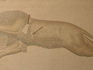 Ranjeni Lav (akril,platno,ulje,pesak,strele,konopac,lepak, 200x100cm) 1984.god.