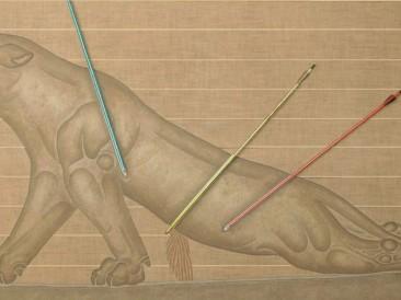 Ranjeni Lav 2 (akril,platno,ulje,pesak,strele,konopac,lepak, 200x100cm) 1984.god.