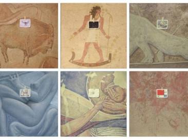 Introspekcije (6 slika,platno,akrilik,pesak,glina,papir, 40x40cm) 1980.god.