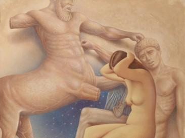 Bitka sa Kentaurom (platno,akril,glina,lepak, 90x90cm) 1999.god.
