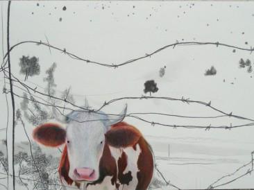 "Nepomično – Ciklus ""Treperenje"" (grafit i olovke u boji, 0,88×1,24m) 2007."