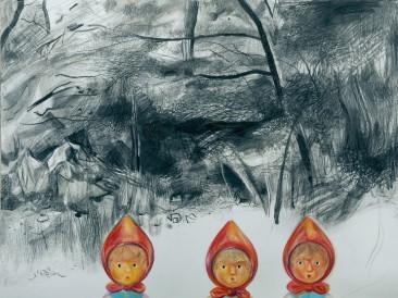 """Jahačice apokalipse – Ciklus """"Goodbye childhood"""" (grafit i olovke u boji, 0,9×1,1m) 2009."""