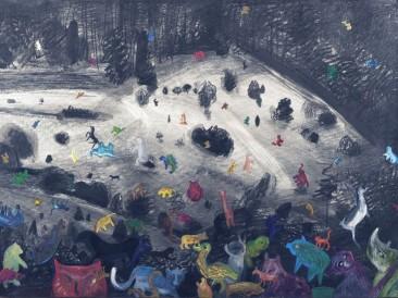 """Dosta je bilo – Ciklus """"Goodbye childhood"""" (grafit i olovke u boji, 0,9×1,1m) 2008."""