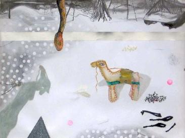 """Početak velikog pakovanja – Ciklus """"Goodbye childhood"""" (grafit i olovke u boji, 0,9×1,1m) 2009."""