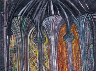 Unutrašnjost katedrale (pastel, 1987.god.)
