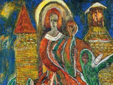 Materinstvo crveno (ulje na platnu, 1993.god.)