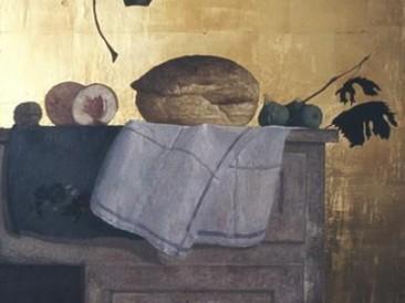 Mrtva priroda sa Karavađovim listom (ulje na dasci 57x43cm) 1987.