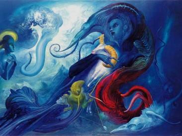 Celestial Talks (oil on canvas, 100x150cm)