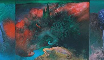 Secrets of Mediterranean – Green Sky (oil on canvas, 50x140cm)