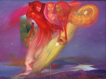 Plotting in the sky (oil on canvas, 50x65cm)