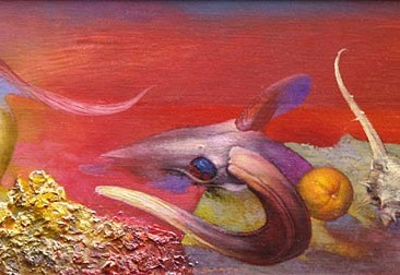 At sunset (oil on wooden board, 23x61cm)
