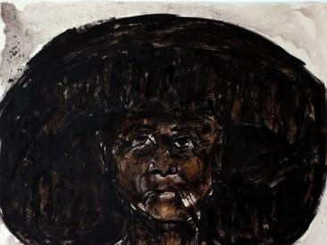 Žena sa šeširom (kombinovana tehnika, 80x100cm) 2014.
