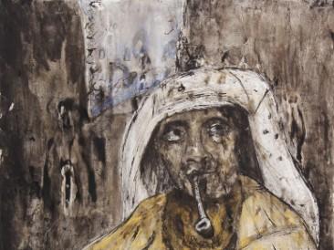 Žena sa lulom (kombinovana tehnika, 130x200cm) 2014.