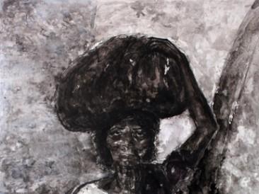 Žena sa teretom (kombinovana tehnika, 130x200cm) 2014