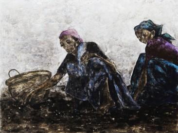 Dve žene u polju (kombinovana tehnika, 200x150cm) 2014. dvostrana slika-lice
