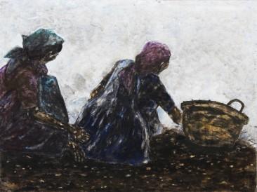 Dve žene u polju (kombinovana tehnika, 200x150cm) 2014. dvostrana slika-naličje