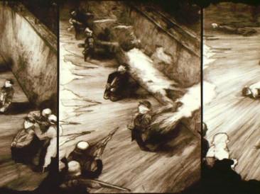 Streljanje (Triptih, 55x74x55x104cm) 1980.god.