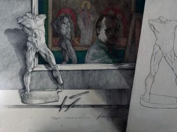 Linija, valer, boja (Crtež, 100x70cm) 1996.god.