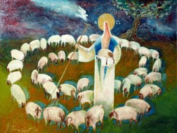 Dobri pastir (ulje na platnu,  65x45cm) 2002.god.