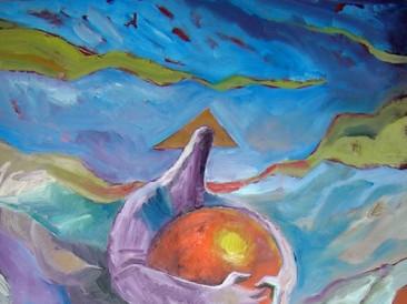 Bog oblikuje zemlju na priliku kugle (ulje na platnu, 100x140cm) 2009.god.