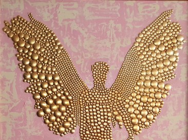 Golden Angel (Metal, rivets, gold plate, oil on canvas, 120x100cm)