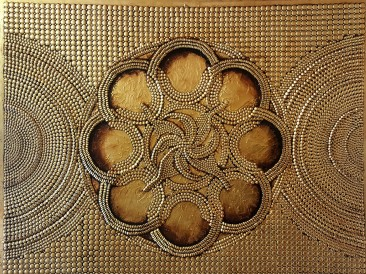 Vector gold mandala (metal, rivets, gold plate, oil on  masonite, 140x180cm)