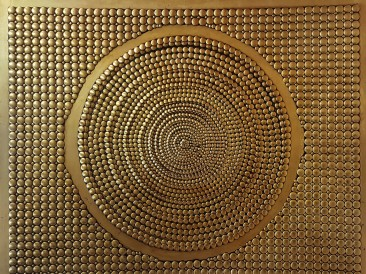 Khyil – khor – The center of the universe (metal , rivets, gold plate, oil on masonite, 140x180cm)