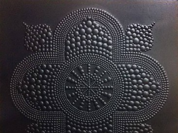 Islamic Fractal Star – Byzantine (metal, rivets, oil on masonite, 101x101cm)