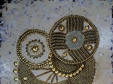 Tourbilion – Byzantine (metal, crystals, rivets, oil on canvas, 70x90cm)