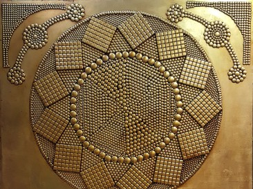 Vintage vector pattern (metal, rivets, gold plate, oil on masonite, 140x180cm)