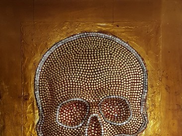 Skull (metal, crystals, rivets,  oil on masonite, 80x100cm)