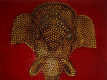 Tribe Guard (metal, rivets, gold plate,email,oil on canvas, 80x100cm)