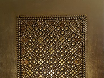 The Shield  (metal, rivets, gold plate, oil on masonite, 80x100cm)