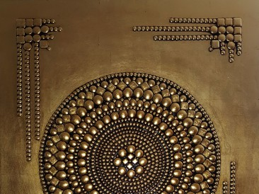 Weapon Prayer (metal, rivets, gold plate, oil on masonite, 80x100cm)