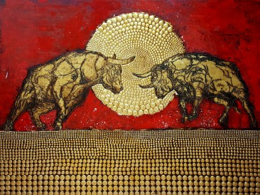 Bullfight  (email, metal, rivets, gold plate, oil on  masonite, 140x180cm)