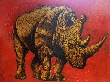 Rhino (email, gold plate, oil on masonite, 140x180cm)