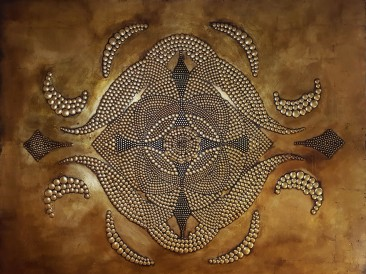 Mandala de Oro (metal, rivets, gold plate, oil on masonite, 140x180cm)