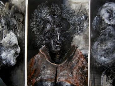 Starica i smrt (kombinovana tehnika na papiru, 50x70cm) 2016. god.