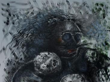 Dama sa brkovima u vrtu bluda (komb.tehnika – tuš na papiru, 76x56cm) 2016.god.