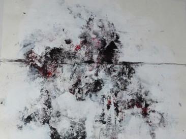 Hanging (komb.tehn. na papiru, 32x33cm) 2017.god.