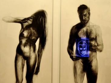 Communication (crtež, svetlosni crtež, miks mediji, 150x160cm)