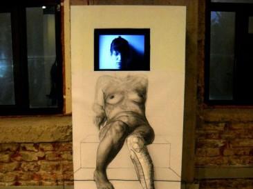 Feeling (crtež – instalacija, video animacija, 180x70x80cm)